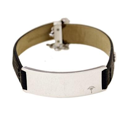 Joop Marka Siyah Derili Modern Gümüş Bileklik DX844