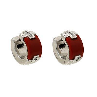 Kırmızı Taşlı Joop Marka Modern Bayan Gümüş Küpe DX364