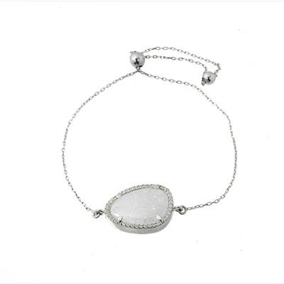 Buz Kristal Taşlı Modern Gümüş Bayan Bileklik DX365