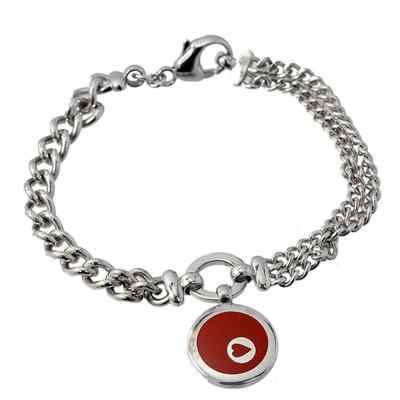 Kırmızı Mine Morgan Marka Modern Bayan Gümüş Bileklik DX396