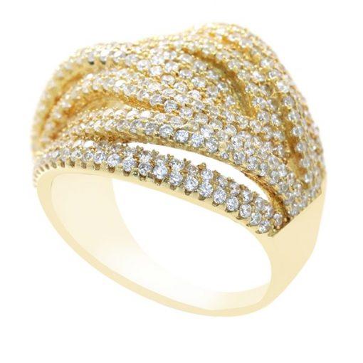 Zirkon Taşlı Taş Altın Modern Gümüş Bayan Yüzük DX211