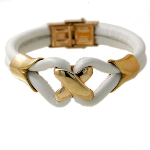 Beyaz Deri Altın Kaplama Modern Bayan Çelik Bileklik AX063