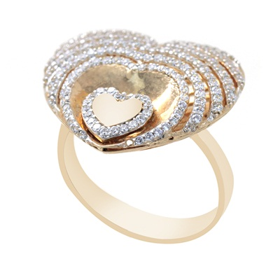 Kalp Model Rose Gold Kaplamalı Zirkon Taşlı Bayan Gümüş Yüzük DX152