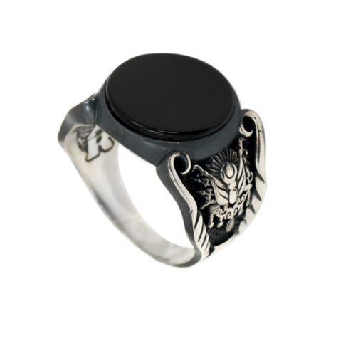 Osmanlı Armalı Oniks Taşlı Modern Gümüş Erkek Yüzük DX012