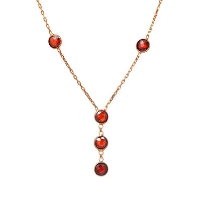 Granat Taşlı Rose Gold Modern Bayan Gümüş Kolye DX002