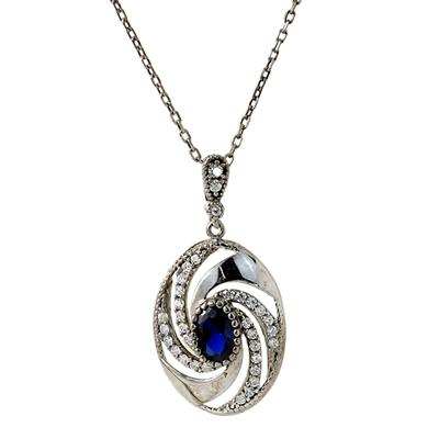 Safir Taşlı Modern Gümüş Bayan Kolye DX307