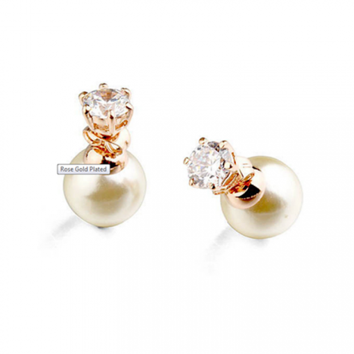 Çift taraflı rose gold incili ve zirkon taşlı modern bayan küpe CX250