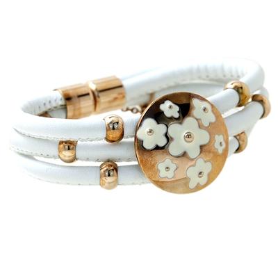 Beyaz Deri Rose Gold Modern Bayan Çelik Bileklik AX061