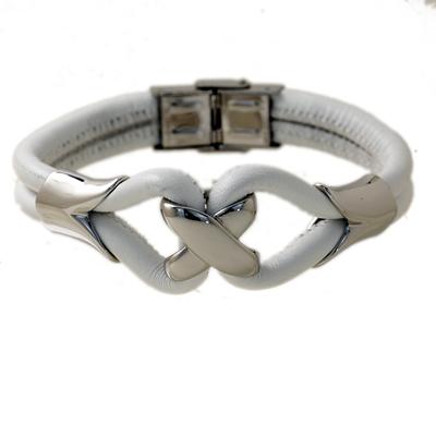 Beyaz Deri Altın Kaplama Modern Bayan Çelik Bileklik AX351
