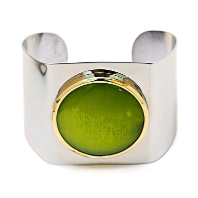 Yeşil Taşlı Kelepçe Model Modern Bayan Bileklik AX352