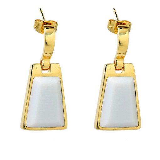 Swarovski Taşlı Sarı Altın Modern Bayan Küpe AX394 B
