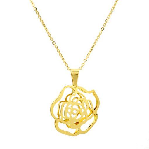 Altın Kaplama Çiçek Desenli Modern Bayan Kolye AX421