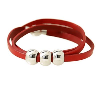 Kırmızı Deri Modern Bayan Çelik Bileklik AX082