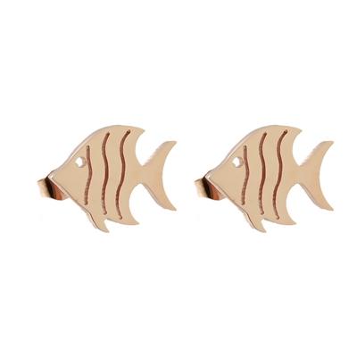 Balık Model Rose Gold Modern Bayan Küpe AX595 B