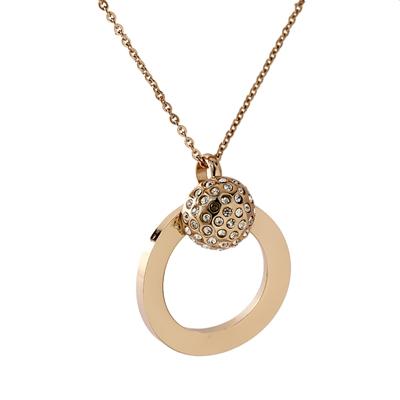 Zirkon Taşlı Rose Gold Modern Bayan Kolye AX611
