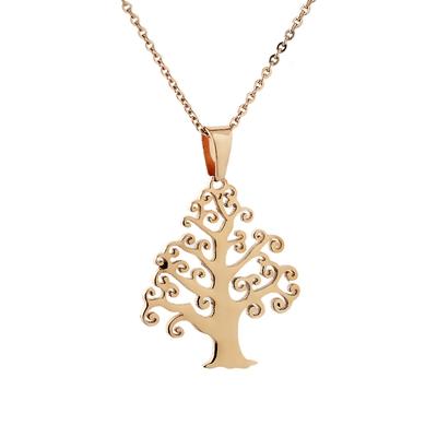 Rose Gold Hayat Ağacı Model Modern Bayan Kolye AX589