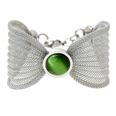 Yeşil Taşlı Modern Bayan Çelik Bileklik AX190