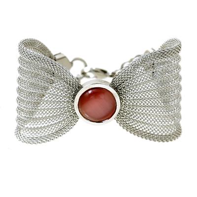 Kırmızı Taşlı Modern Bayan Çelik Bileklik AX191