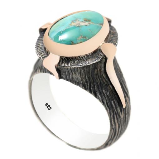 Turkuaz Taşlı Modern Bayan Gümüş Yüzük DX153