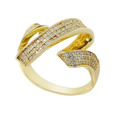 Zirkon Taşlı Sarı Altın Modern Bayan Gümüş Yüzük DX607