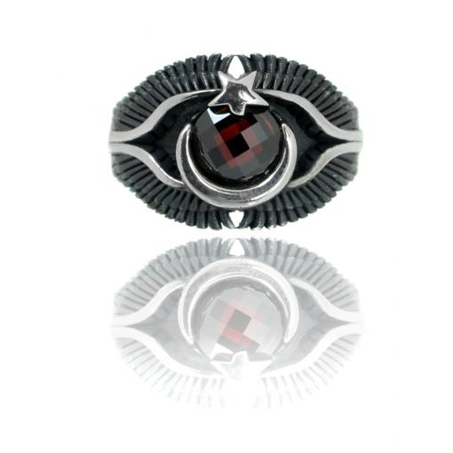 Granat Taşlı Ayyıldız Modern Erkek Gümüş Yüzük DX853