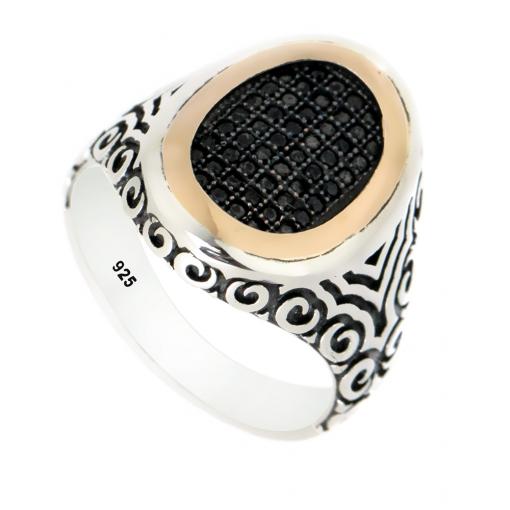 Siyah Zirkon Taşlı Modern Gümüş Erkek Yüzük DX326