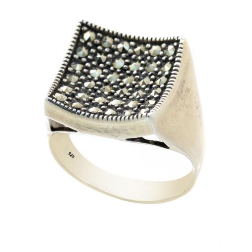 Markazit Taşlı Modern Gümüş Bayan Yüzük DX182
