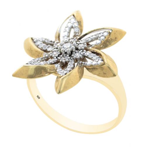 Yıldız Model Altın Kaplamalı Zirkon Taşlı Bayan Gümüş Yüzük DX172
