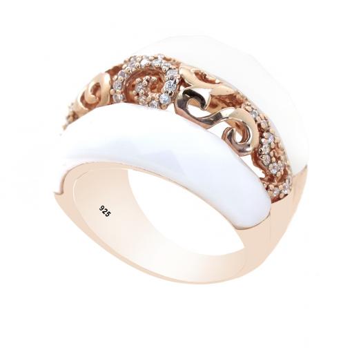 Opak Taşlı Rose Gold Modern Bayan Gümüş Yüzük DX181