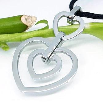 Beyaz Altın Çift Kalp Model Modern Bayan Kolye BX270