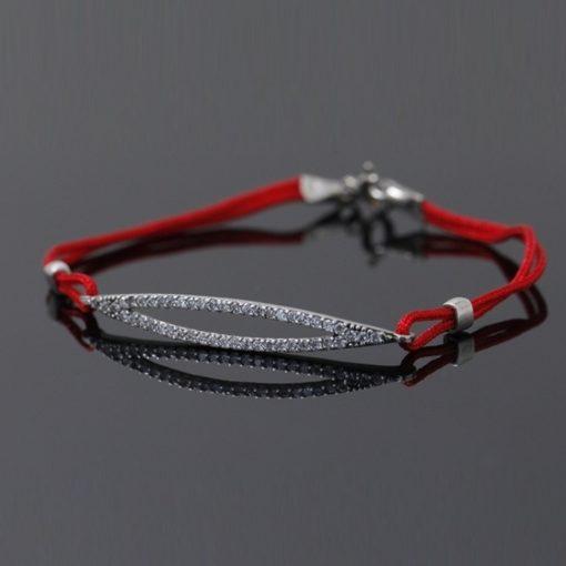 Kırmızı Kordonlu Zirkon Taşlı Modern Bayan Gümüş Bileklik DX705
