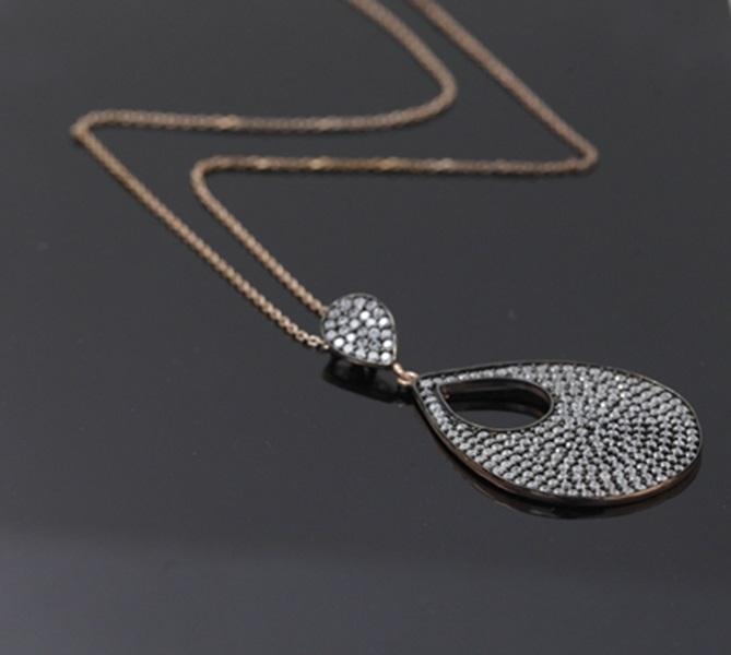 Zirkon Taşlı Damla Model Rose Gold Modern Bayan Gümüş Kolye DX682