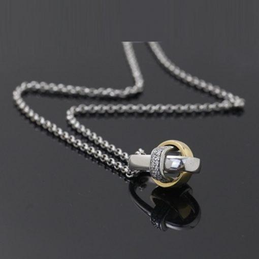 Pierre Cardin Marka Zirkon Taşlı Modern Bayan Gümüş Kolye DX727