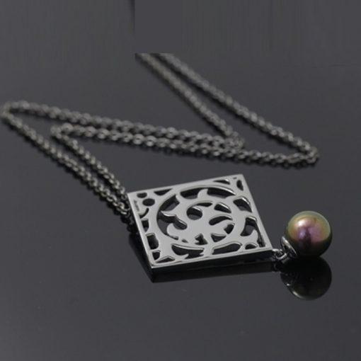 Misaki Marka Siyah İncili Modern Bayan Gümüş Kolye DX698