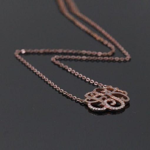 Zirkon Taşlı Rose Gold Modern Bayan Gümüş Kolye BX542