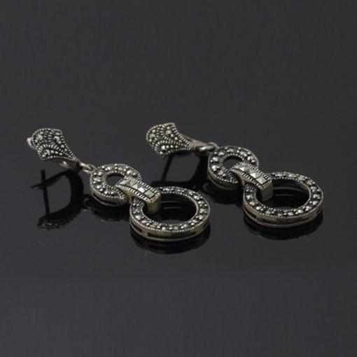 Markazit Taşlı Bayan Gümüş Küpe DX571