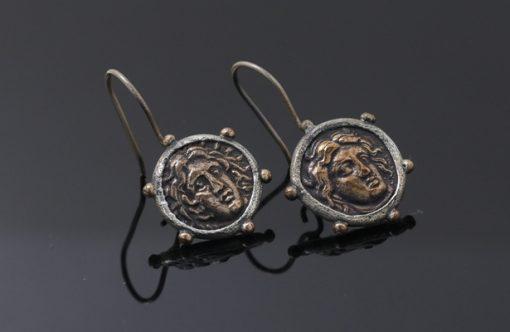 Roma Dönemi Antik Paradan Yapılmış Gümüş Küpe DX527