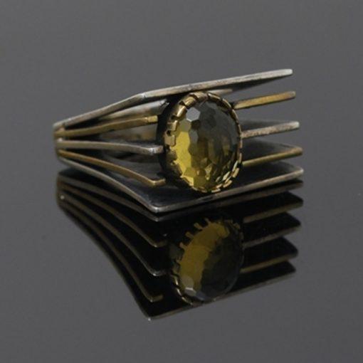 Sitrin Taşlı Otantik Model Bayan Gümüş Yüzük DX604