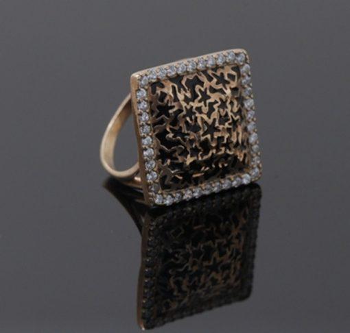 İtalyan Siyah Mineli Rose Gold Modern Bayan Gümüş Yüzük DX662