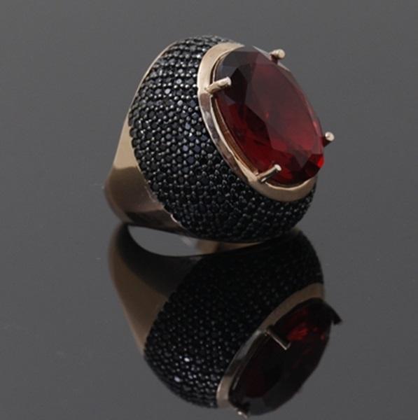 Siyah Zirkon Taşlı Rose Gold Modern Bayan Gümüş Yüzük DX653