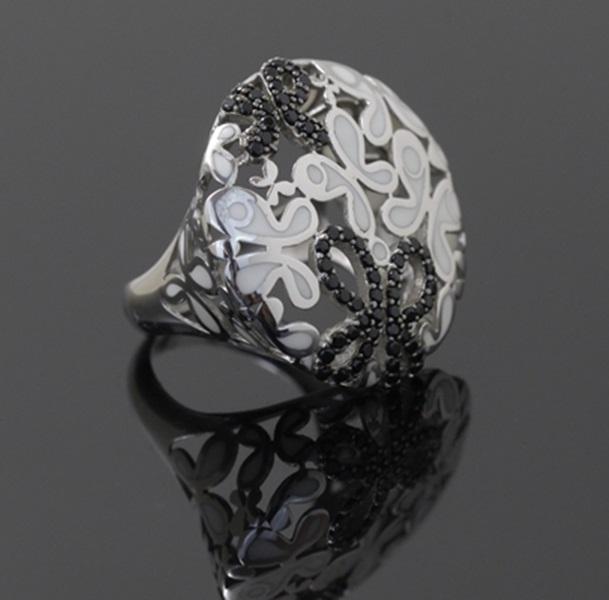 Siyah Zirkon Taşlı Beyaz Altın Kaplama Modern Bayan Yüzük DX645
