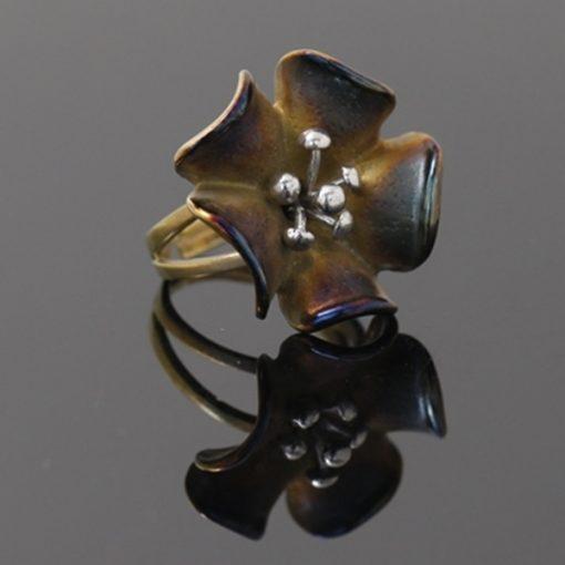 Mineli Çiçek Model Otantik Bayan Gümüş Yüzük DX650