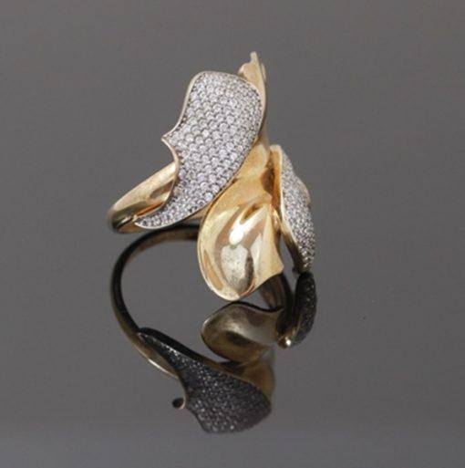 Yaprak Model Zirkon Taşlı Altın Kaplamalı Modern Bayan Gümüş Yüzük DX601