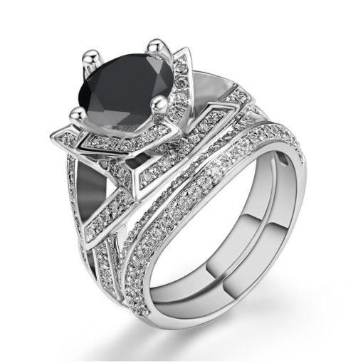 Siyah Beyaz Zirkon Taşlı Modern Bayan Yüzük STJ027