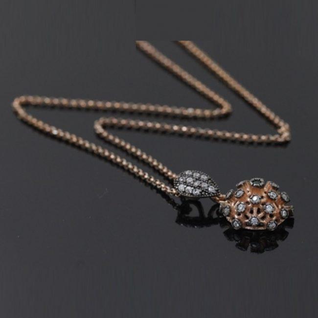 Zirkon Taşlı Rose Gold Modern Bayan Gümüş Kolye DX796