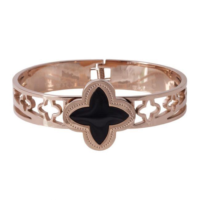 Siyah Mineli Rose Gold Modern Bayan Bileklik BX316