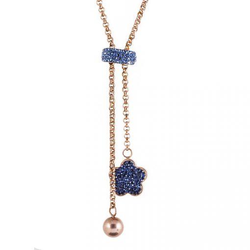 Mavi Swarovski Taşlı Rose Gold Modern Bayan Kolye BX365