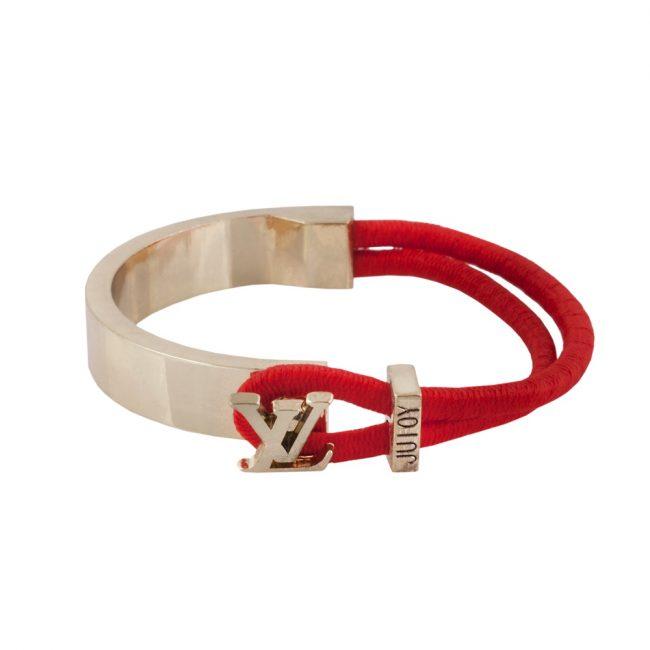 Kırmızı Deri Kordonlu Modern Bayan Bileklik BX592