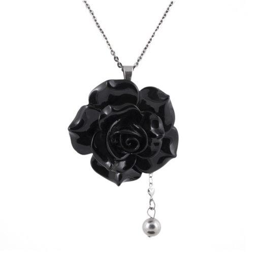 Siyah Renkli Gül Model Seramik Bayan Kolye BX686