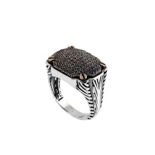 Siyah Zirkon Taşlı Modern Erkek Gümüş Yüzük DX872